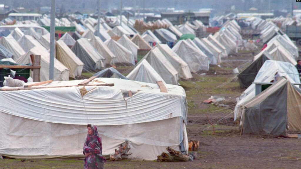 Many of the hundreds of thousands of Azeris displaced from Nagorno-Karabakh and the surrounding territories occupied by ethnic Armenian troops continue to live in camps in Azerbaijan.