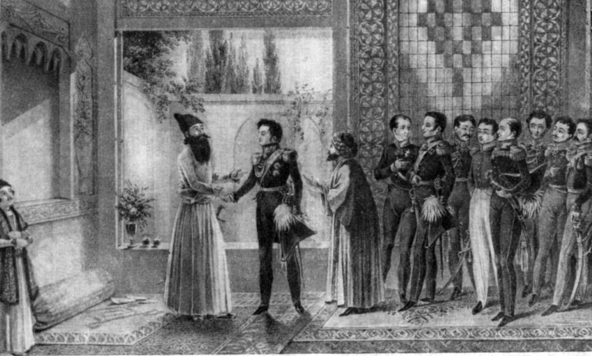 Meeting of I.F.Paskevich with Abbas-Mirza. V.I. Moshkov, 1829.