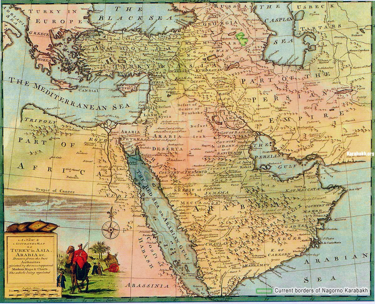 Map of Karabakh under Aran province of Safavid (Persian) Empire
