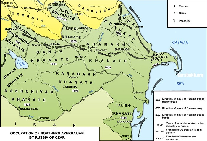 Annexation of Northern Azerbaijani khanates by Russia Empire, 19th century