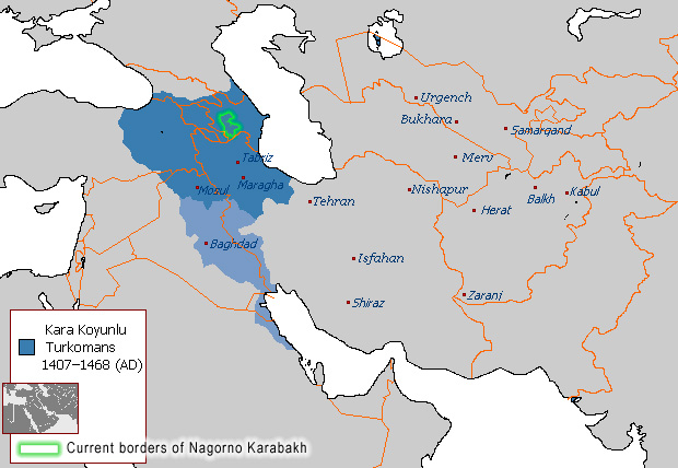 Map of Karabakh as a part of Azerbaijani state of Qara Qoyunlu. XV c.
