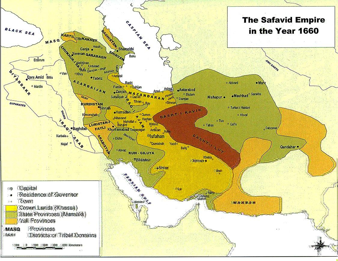 Map of Karabakh as a part of Karabakh Beylerbeylik