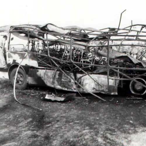 "Armenian terrorism. Blown up ""Tbilisi-Agdam"" passenger bus."