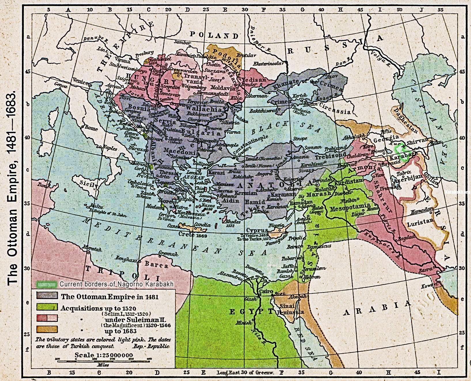 Map of Karabakh during Ottoman-Sadavid wars. XV-XVII cc.
