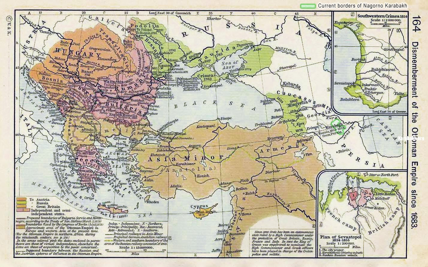 Map of Karabakh and expansion of Russian Empire in Caucasus. XVII-XIX cc.