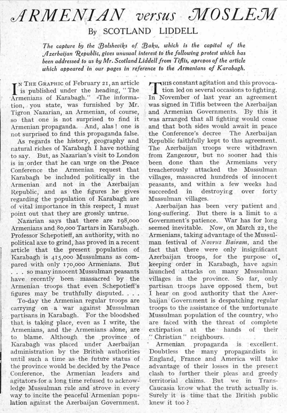 Armenian versus Moslem by Scotland Liddell, The Graphic, 8 May 1920